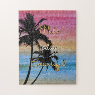 """Make today beautiful"" gold quote Jigsaw Puzzle"