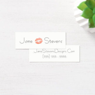 Make Up Artist Lipstick Kiss Minimalist Mini Business Card
