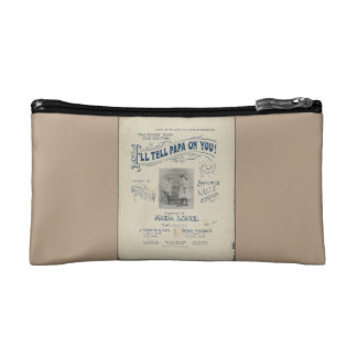 """Make-up bag - """"I'll Tell Papa on You"""" Sueded Cosmetic Bag"""