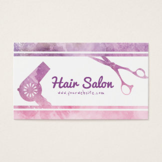 Make up Salon Modern Violet Scissor & Hair Dryer Business Card