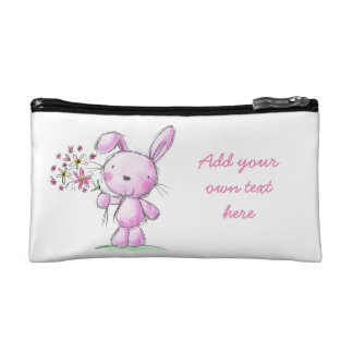 MAKE UP SMALL BAG cute pink bunny rabbit flowers