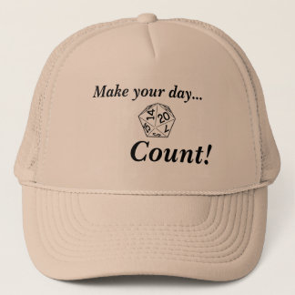 Make your day count with d20 trucker hat