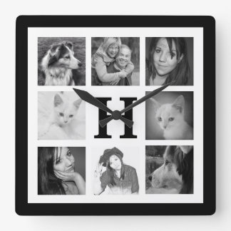 Make Your Own 8 Instagram Photos with Monogram Square Wall Clock