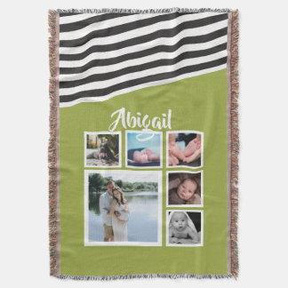 Make Your Own Bright Green Striped Personalized Throw Blanket