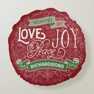 Make Your Own Christmas Typography Custom Banner Round Pillow