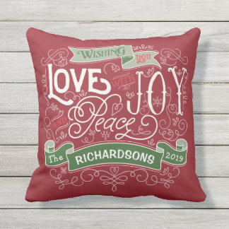 Make Your Own Christmas Typography Custom Banner Throw Pillow