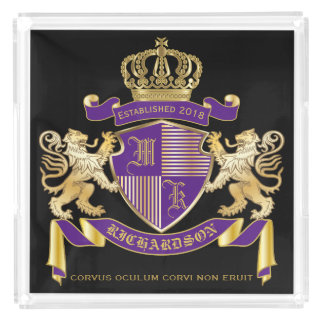 Make Your Own Coat of Arms Monogram Crown Emblem Acrylic Tray