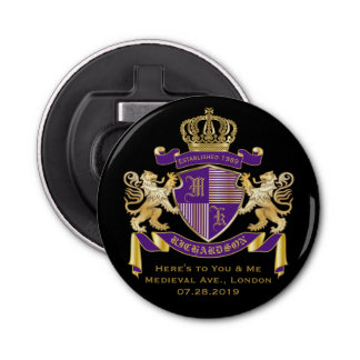 Make Your Own Coat of Arms Monogram Crown Emblem Button Bottle Opener
