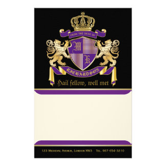 Make Your Own Coat of Arms Monogram Crown Emblem Customized Stationery