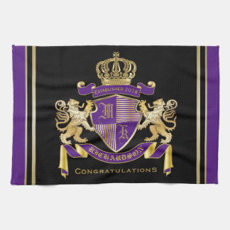 Make Your Own Coat of Arms Monogram Crown Emblem Hand Towels
