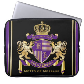 Make Your Own Coat of Arms Monogram Crown Emblem Laptop Sleeve