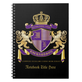 Make Your Own Coat of Arms Monogram Crown Emblem Notebook