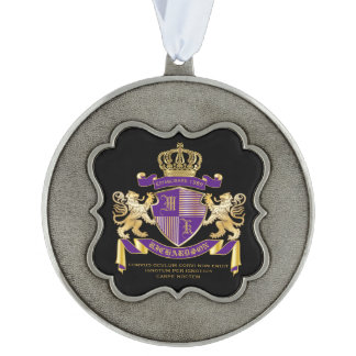 Make Your Own Coat of Arms Monogram Crown Emblem Scalloped Pewter Ornament