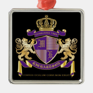 Make Your Own Coat of Arms Monogram Crown Emblem Silver-Colored Square Ornament