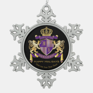 Make Your Own Coat of Arms Monogram Crown Emblem Snowflake Pewter Christmas Ornament