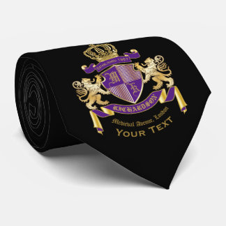 Make Your Own Coat of Arms Monogram Crown Emblem Tie