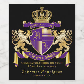 Make Your Own Coat of Arms Monogram Crown Emblem Wine Label