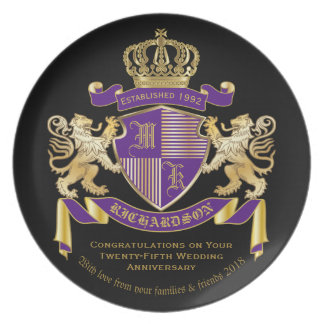 Make Your Own Coat of Arms Monogram Lion Emblem Party Plate