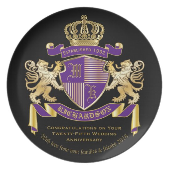 Make Your Own Coat of Arms Monogram Lion Emblem Plate