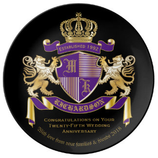 Make Your Own Coat of Arms Monogram Lion Emblem Porcelain Plates