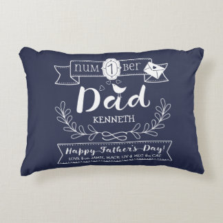 Make Your Own Father's Day No. 1 Dad Cute Monogram Decorative Pillow