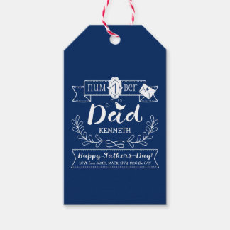 Make Your Own Father's Day No. 1 Dad Cute Monogram Gift Tags