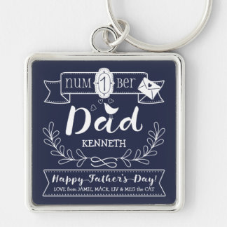 Make Your Own Father's Day No. 1 Dad Cute Monogram Keychain