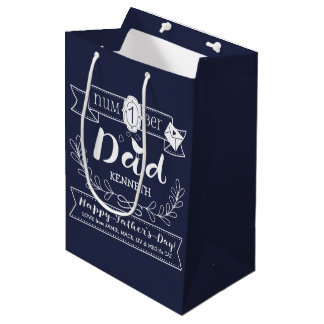 Make Your Own Father's Day No. 1 Dad Cute Monogram Medium Gift Bag