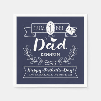 Make Your Own Father's Day No. 1 Dad Cute Monogram Napkin