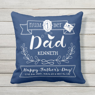 Make Your Own Father's Day No. 1 Dad Cute Monogram Outdoor Pillow