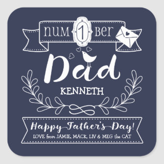 Make Your Own Father's Day No. 1 Dad Cute Monogram Square Sticker