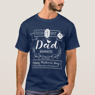 Make Your Own Father's Day No. 1 Dad Cute Monogram T-Shirt