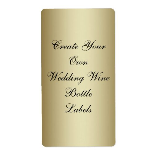 Make Your Own Gold Black Wedding Wine Bottle Personalized