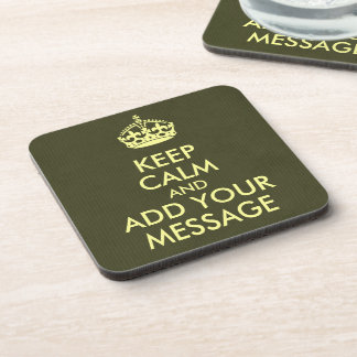 Make Your Own Keep Calm Olive Green Kraft Paper Coaster