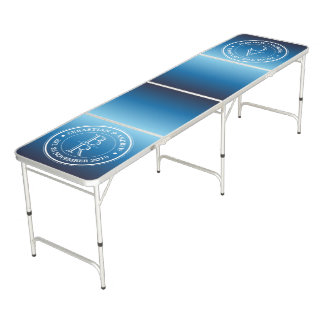 Make Your Own Monogram Logo Blue Ombre Gradation Beer Pong Table