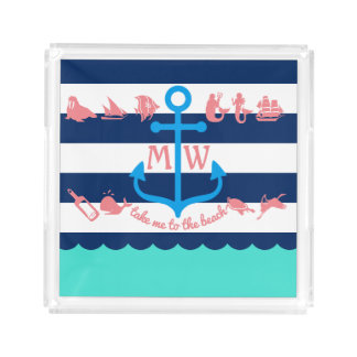 Make Your Own Nautical Summer Fun Anchor Stripes Acrylic Tray