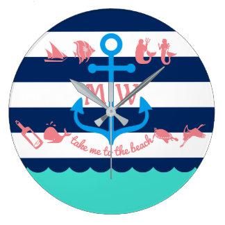 Make Your Own Nautical Summer Fun Anchor Stripes Clocks