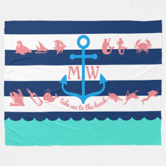 Make Your Own Nautical Summer Fun Anchor Stripes Fleece Blanket