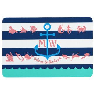 Make Your Own Nautical Summer Fun Anchor Stripes Floor Mat