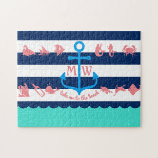 Make Your Own Nautical Summer Fun Anchor Stripes Jigsaw Puzzle