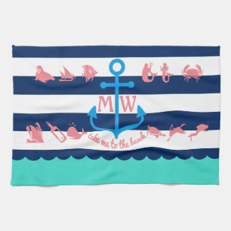 Make Your Own Nautical Summer Fun Anchor Stripes Kitchen Towel