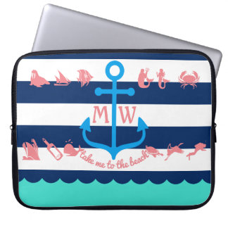 Make Your Own Nautical Summer Fun Anchor Stripes Laptop Sleeve