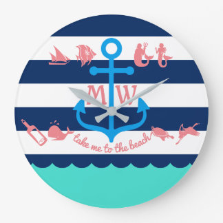Make Your Own Nautical Summer Fun Anchor Stripes Large Clock