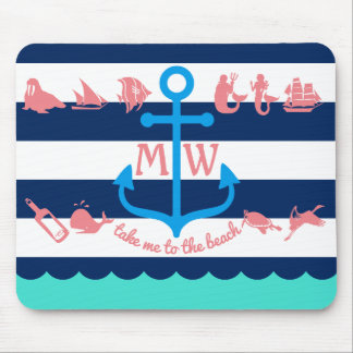 Make Your Own Nautical Summer Fun Anchor Stripes Mouse Pad