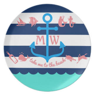 Make Your Own Nautical Summer Fun Anchor Stripes Plate