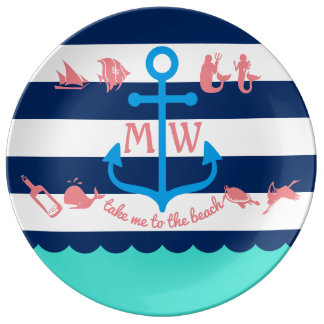Make Your Own Nautical Summer Fun Anchor Stripes Porcelain Plates