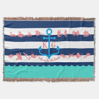 Make Your Own Nautical Summer Fun Anchor Stripes Throw Blanket