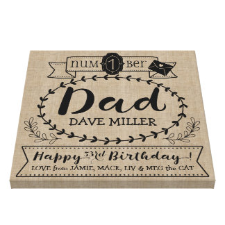 Make Your Own Number 1 Dad Birthday Cute Monogram Canvas Print