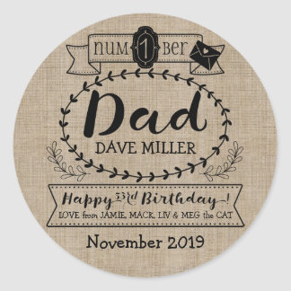 Make Your Own Number 1 Dad Birthday Cute Monogram Classic Round Sticker