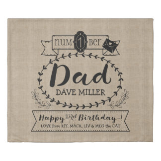 Make Your Own Number 1 Dad Birthday Cute Monogram Duvet Cover